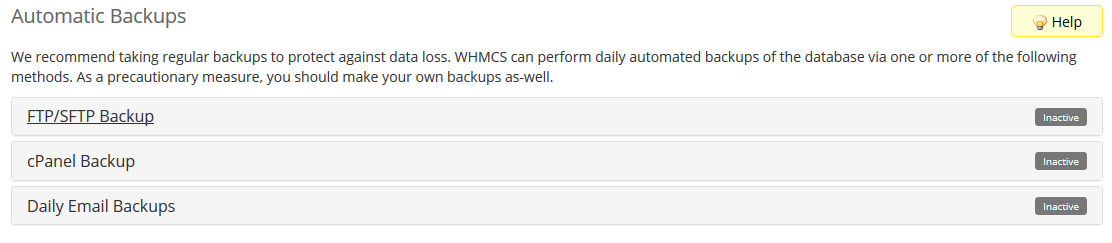 image showing how to automate database backup in WHMCS