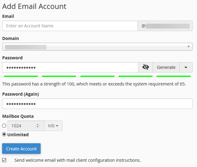 image showing how to create email account from cPanel