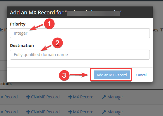 image showing how to create mx record in cPanel