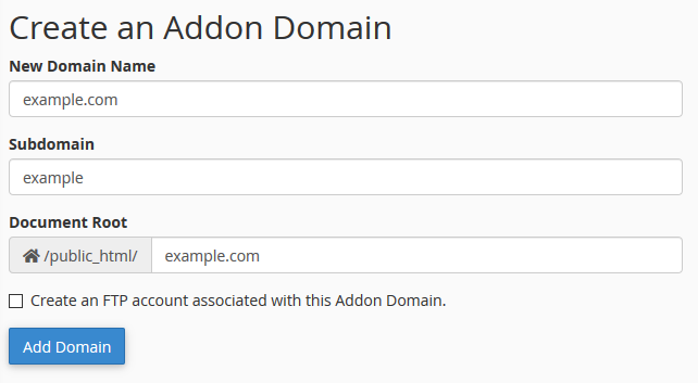 image showing how to add an addon domain in cPanel