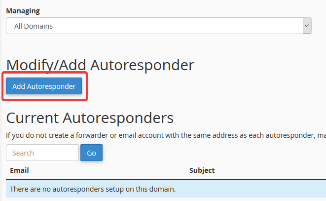 image showing how to make autoresponders in cPanel