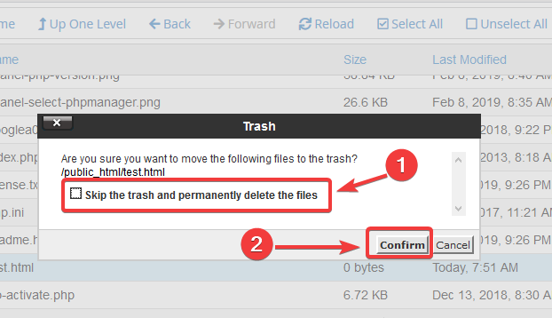 image showing how to delete files in cPanel