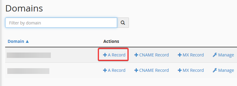 image showing how to create an A record in cPanel