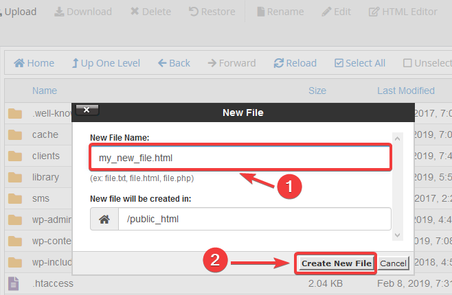 image showing how to create a new file on cPanel