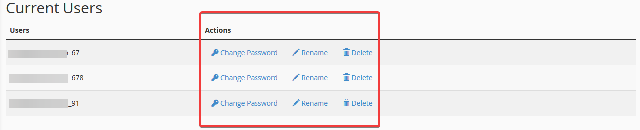 image showing how to create a database user in cPanel