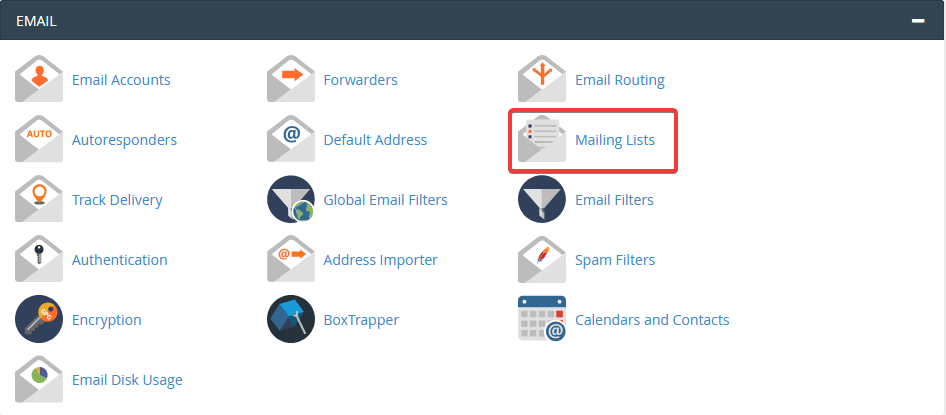 image showing how to configure mailing lists in cPanel