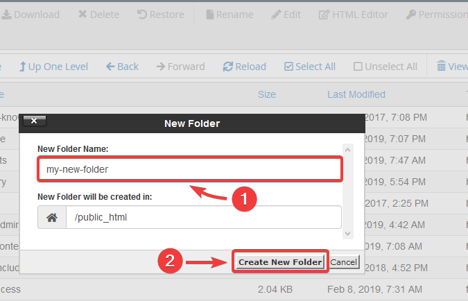 image showing how to create a new folder on cPanel