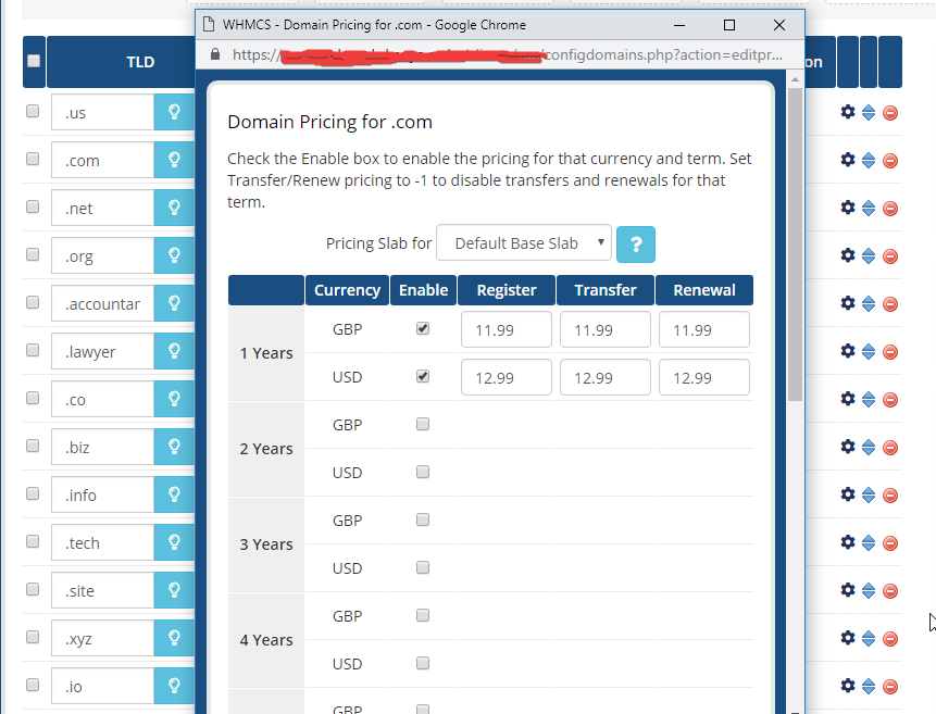 image showing how to add new cctlds or tlds in WHMCS