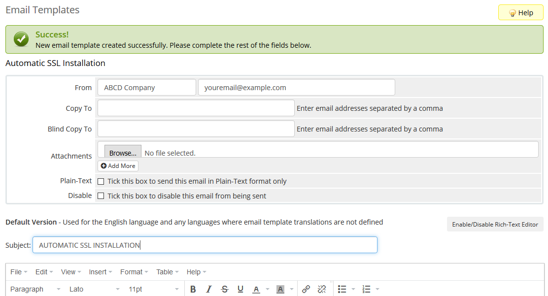 image showing how to create email templates in WHMCS