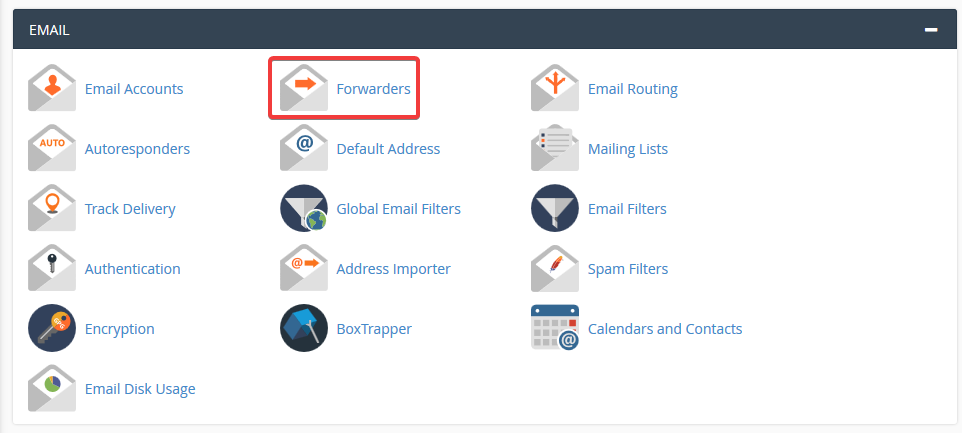 image showing how to add email forwarders on cpanel