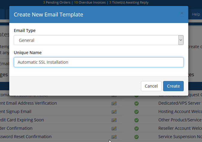 image showing how to crate email templates in WHMCS