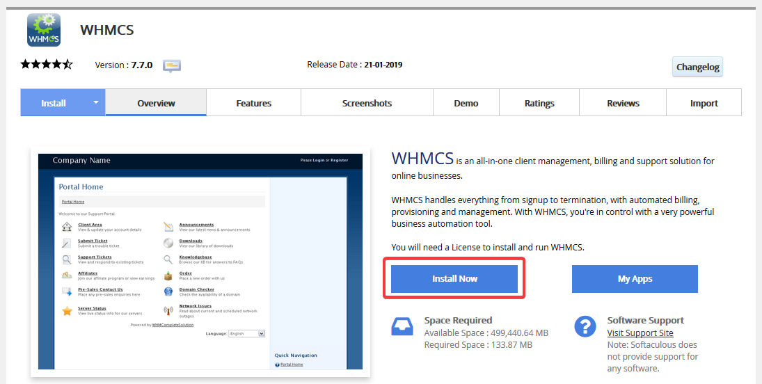 image showing how to install whmcs via softaculous