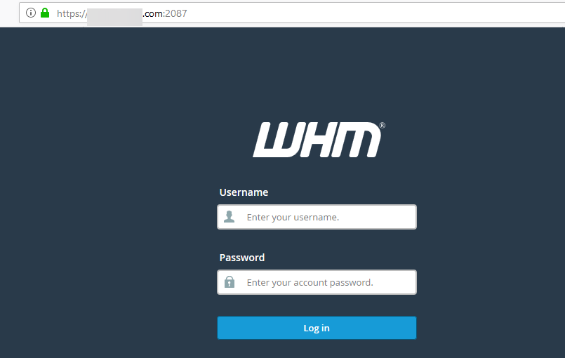 image showing how to login to whm