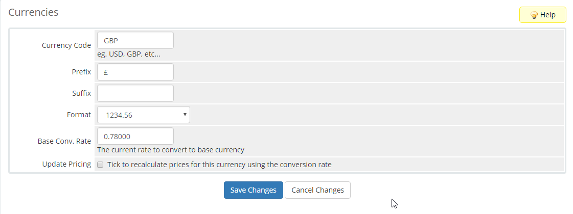 image showing how to add new currencies in WHMCS