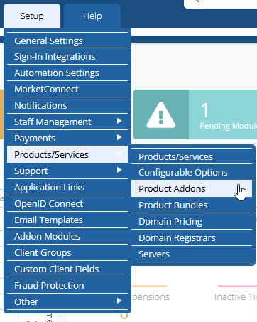 image showing how to add products addons in WHMCS