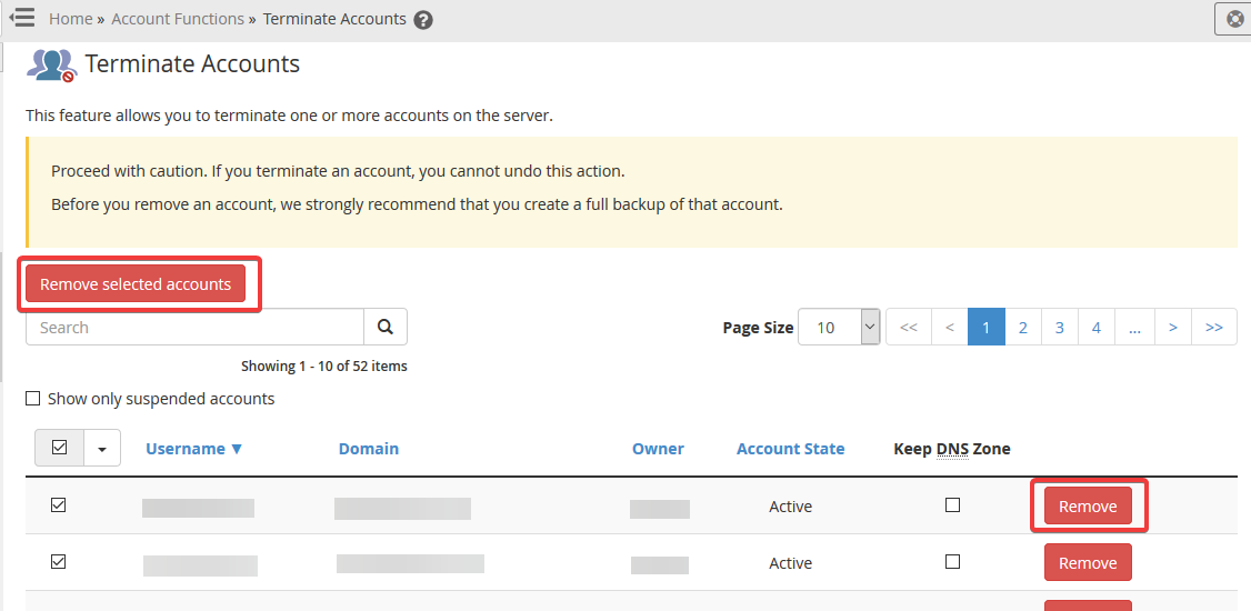 image showing how to terminate an account in WHM