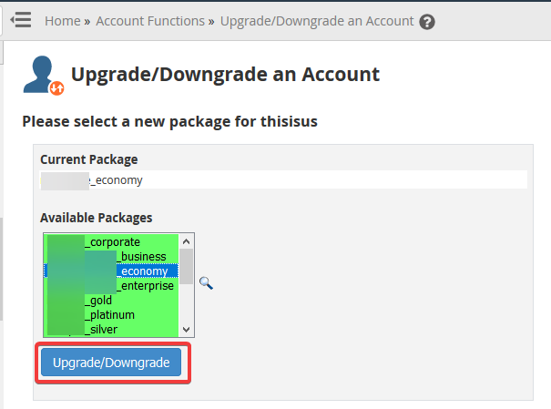 image showing how to upgrade or downgrade an account in WHM